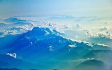 Горы, лучи солнца, вершины, облака, горизонт