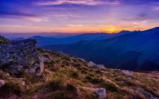 Вечер, закат, горы, трава
