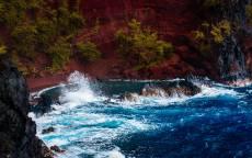 Природа, пейзаж, водопад, брызги, волны, скалы