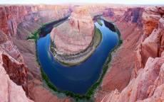 Природа, каньон, остров, розовые скалы, синяя вода