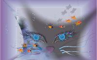 картинка, рисунок, абстракция, кошка, рыбки, пузырьки воздуха