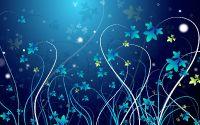 Цветы, трава, листья, синий фон