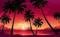 картинка, рисунок, вечер, парусник, пальмы, закат солнца