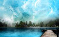 картинка, рисунок, деревянная пристань, голубая вода, голубое небо