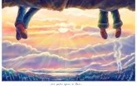 картинка, рисунок, солнце, облака, лес, дым, ноги