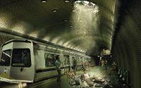 картинка, рисунок, метро, дыра в потолке, провал, человек упал
