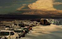 картинка, рисунок, стоянка, кладбище автомобилей, зима, снег