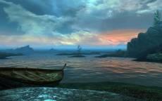 Картина, холодное море, старая лодка на берегу