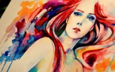 Рисунок рыжей девушки на холсте