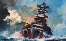 Японский военный корабль, океан, шторм, война