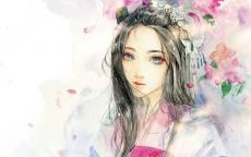 Девушка с большими глазами в окружении цветов