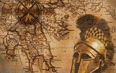 Старинная карта с греческим шлемом
