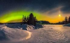 Зима, Северное сиянье, снег, следы, деревья,
