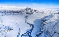 зима, снег, горы, лед, река