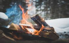 зима, лес, путешествие, костер, огонь, дрова