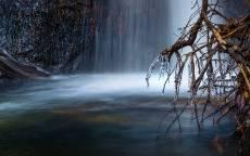 Водопад, река, зима, мороз, сосульки