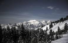 Зима, снежные горы, ели, склон