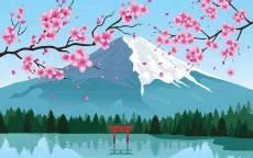 Рисунок сакура фудзияма арка