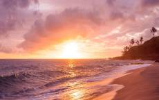 тропики, море, океан, пляж, закат, пальмы