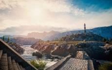 лестница, маяк, горы, река, солнце