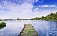 речка, лето, вода, небо, мостик на реке, красивый вид