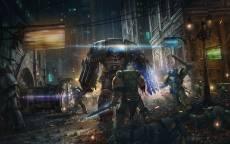 Настольная игра-варгейм, Warhammer 40.000, ночь, город, робот, воин, меч