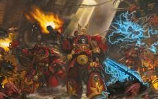 Игра, Warhammer 40k, битва, космодесантник, доспехи, энергокулак, пожар, выстрел