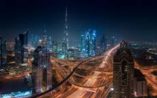 ОАЭ, Дубай, небоскребы, ночь, шоссе