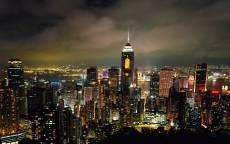 Панорама ночного города, свет небоскребов