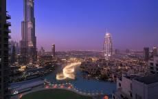 ОАЭ, Дубаи, вечер, небоскребы, светящиеся фонтаны, набережная