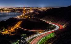 Сан-Франциско, Калифорния, ночь, дорога, мост