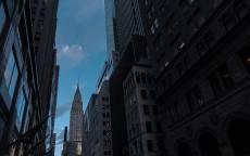 Небоскреб, улица, тень, сумерки, окна