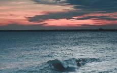 вечер, закат, волны, пляж, облака