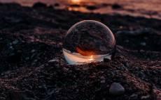 пляж, море, стеклянный шар