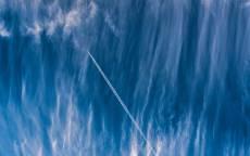облака, самолет, конденсационный след, инверсионный след, реактивный след