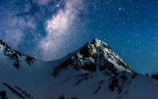 ночь, звездное небо, гора, лыжник