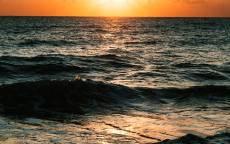 море, океан, волны, закат, вечер