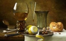 Натюрморт, бокал, лимон, орехи