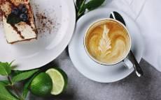 Еда, напиток, кофе, пирожное, лимон