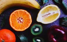 Еда, фрукты, банан, киви, яблоко